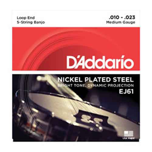D'ADDARIO EJ61 EJ-61 BANJO MEDIUM 5-STRING SAITEN SATZ NICKEL WOUND STRINGS
