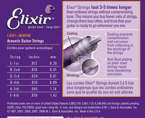 Elixir 11077 Saiten Light Medium 80/20 Bronze 012/056