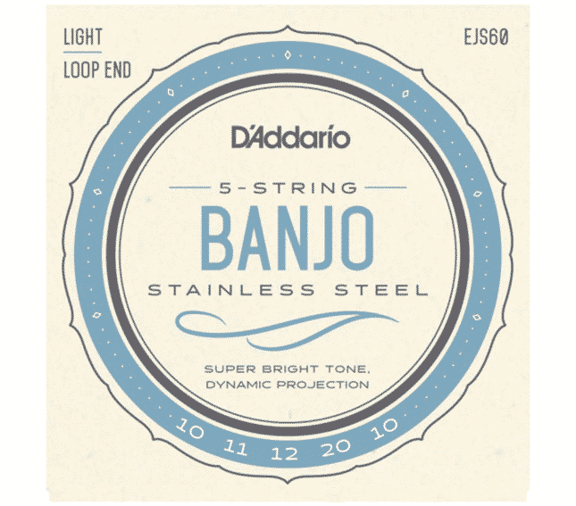 D'Addario EJS60 Banjo 5-Saiter Satz Loop End/Light