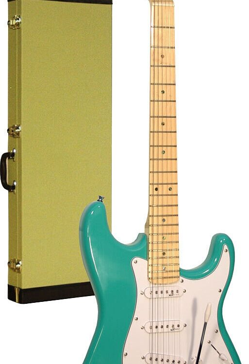 Career Stage-1 E-Gitarre Surf Green Maple Neck inkl. Tweedkoffer