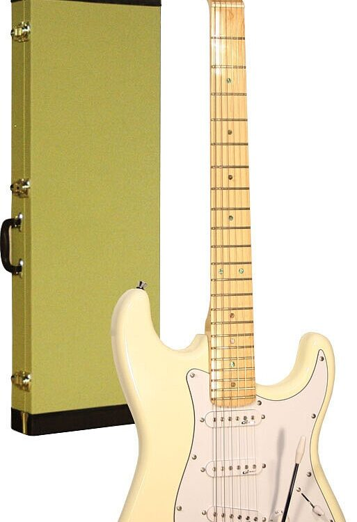Career Stage-1 E-Gitarre Vintage White Maple Neck inkl. Tweedkoffer